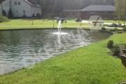 Dekoratyvinis tvenkinys su plaukiojančiu fontanu